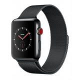 Apple Watch Series 3 (GPS + Cellular) -42mm Space Black Stainless Steel Case with Space Black Milanese Loop-MR1L2