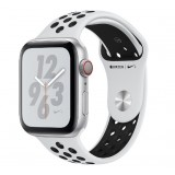 Apple Watch Nike+ Series 4 GPS + Cellular 44mm Silver Aluminum Case with Pure Platinum/Black Nike Sport Band -MTXK2AE