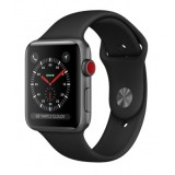 Apple Watch Series 3 (GPS + Cellular) -42mm Space Gray Aluminum Case with Black Sport Band-MQK22