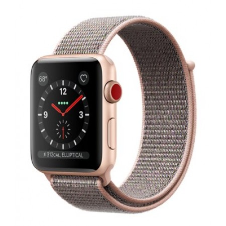 Apple Watch Series 3 (GPS + Cellular) -42mm Gold Aluminum Case with Pink Sand Sport Loop-MQK72
