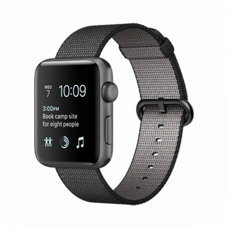 Apple Watch Sport 42mm Space Gray Aluminum Case with Black Woven Nylon -MMFR2
