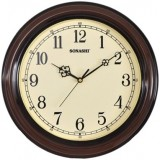 Sonashi Wall Clock (Wood & Dark Brown Color)