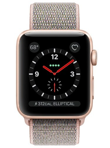 pretty nice 38838 d6567 Apple Watch Series 3 (GPS + Cellular) -42mm Gold Aluminum Case with Pink  Sand Sport Loop-MQK72