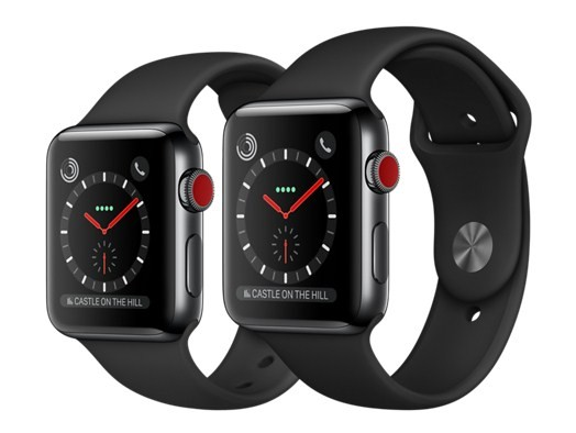 reputable site 8b9cd abb95 Apple Watch Series 3 (GPS + Cellular) -42mm Space Black Stainless Steel  Case with Black Sport Band-MQK92