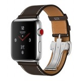 Apple Watch Hermès -42mm Stainless Steel Case with Ébène Barenia Leather Single Tour Deployment Buckle -MQLT2LL