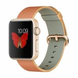 Apple Watch Sport 38mm Gold Aluminum Case with Gold/Red Woven Nylon -MMF52