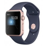 Apple Watch 42mm Rose Gold Aluminum Case with Midnight Blue Sport Band - MNNM2