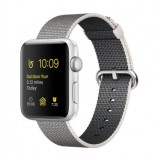 Apple Watch 38mm -Silver Aluminum Case with Pearl Woven Nylon-MNNX2