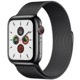 Apple Watch Series 5 GPS + Cellular -44mm Space Black Stainless Steel Case with Space Black Milanese Loop -mwwl2