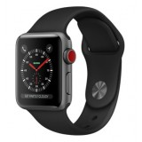 Apple Watch Series 3 (GPS + Cellular) -38mm Space Gray Aluminum Case with Black Sport Band-MQJP2