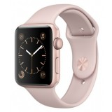 MQ112 Apple Watch -42MM rose gold aluminium case with black sport band