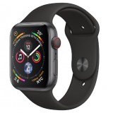 Apple Watch Series 4 GPS + Cellular 44mm Space Gray Aluminum Case with Black Sport Band -MTVU2AE